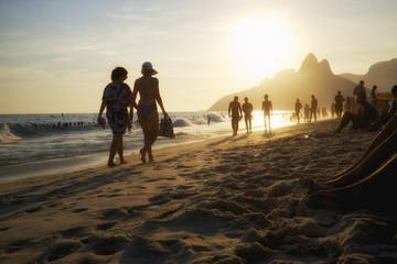 Brazilian Women in Bikini Ipanema Beach Rio de Janeiro Sunset