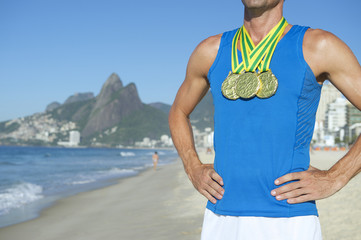 Gold Medal Athlete Standing Ipanema Beach Rio