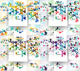 Set of vector triangular abstract backgrounds