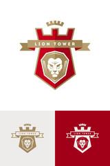 Vector emblem with lion head