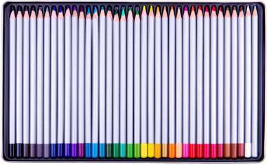 Color pencils in metal box on white background