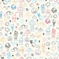 Summer doodles. Seamless pattern