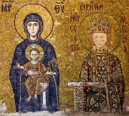 Christian Icon of Virgin Mary and Saint Irina in Hagia Sophia in
