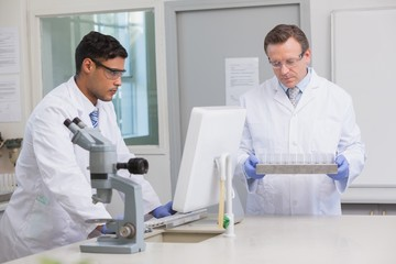 Scientists working together on tubes and computer