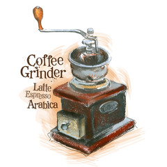 fresh coffee vector logo design template. grinder or arabica