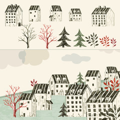 House collection, town illustration