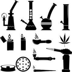 set of cannabis equipment icon