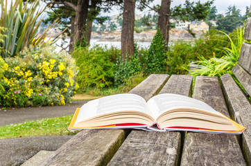 Open Book on a Wooden Bench