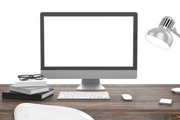 3D illustration PC screen on table, Workspace