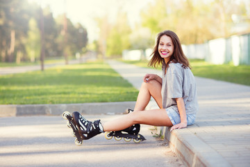 beautiful girl on roller skates