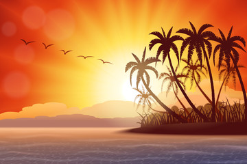 Wall Mural - Tropical island with palms at sunset , vector illustration