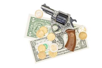 Money and a gun white background