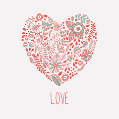 Heart shaped love vector cute pattern