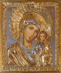 Jerusalem - icon of Madonna in Church of Mary of Magdalene
