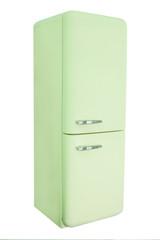 Retro pink refrigerator isolated
