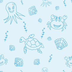 Seamless pattern with hand drawn sea life