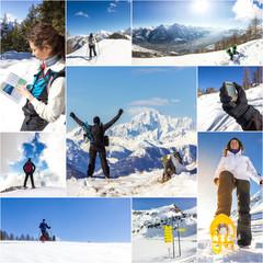 Collage di foto invernali con ciaspole