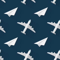 Seamless background with airplanes modern flat style
