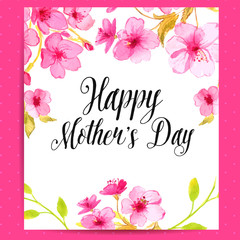 Happy Mother's Day card with cherry blossom flowers. Vector