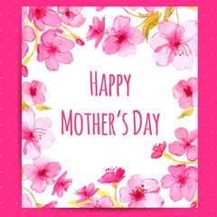 Happy Mother's Day card with cherry blossom flowers frame