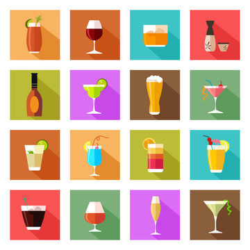 Alcohol drink glasses icons