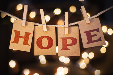 Hope Concept Clipped Cards and Lights Wall mural
