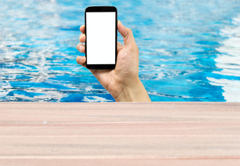 phone in a pool