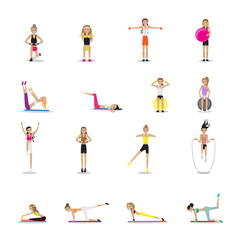Fitness People Workouts Set - Isolated On White Background - Vector Illustration, Graphic Design Editable For Your Design