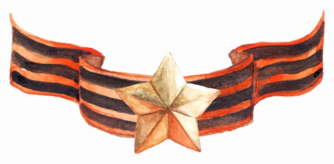 Medal star ribbon 9th may the great patriotic war isolated