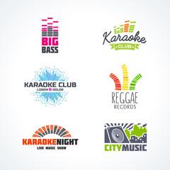 Fifth set of dj music reggae bass karaoke equalizer logo vector