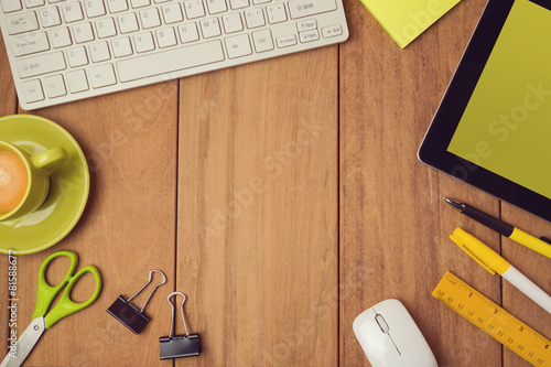 Business background for office desk mock up stock photo for Table vue de haut
