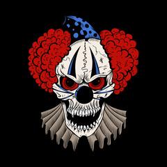 Illustartion of cartoon evil clown.