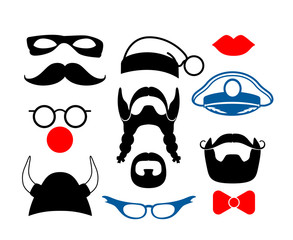False mustache, funny glasses and other items for party or