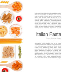 various pasta on white background top view