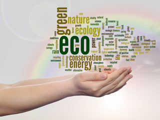 Conceptual ecology word cloud over rainbow