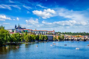 Wall Murals Prague View of Vltava river and Gradchany, Prague