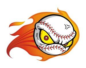 baseball sport fire flame logo image vector
