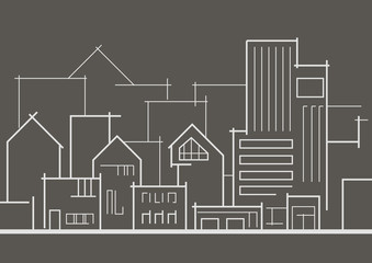 linear panoramic sketch of the city on gray background