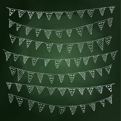 Hand drawn chalk style illustration of bunting