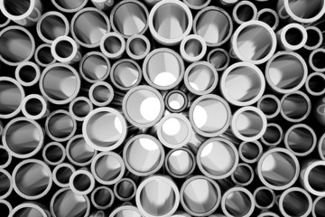 Stack of Steel Metal Tubes with Light Breaking Through a Pipes. Abstract Industrial Background
