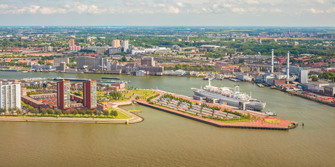 Panoramic view of The Dutch river Maas in Rotterdam