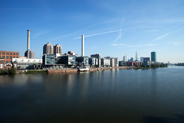 Frankfurt am Main, river, skyline, harbor, panorama