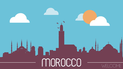 Morocco skyline silhouette flat design vector illustration.