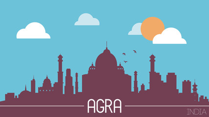 Agra India skyline silhouette flat design vector