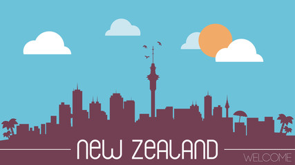 New Zealand skyline silhouette flat design vector