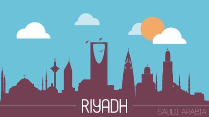 Riyadh Saudi Arabia skyline silhouette flat design vector