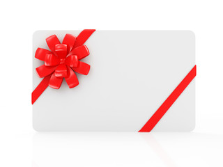 Empty Blank Gift Card with Red Ribbon and Bow isolated on white reflective background