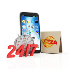 Order Pizza via Smart Phone Application Concept. Stack of Pizza Boxes with Touchscreen Smart Phone and 24/7 Symbol isolated on white background