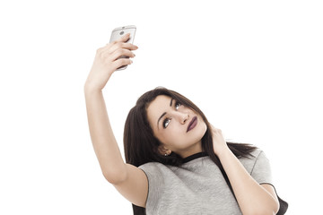 Pretty woman portrait taking a selfie