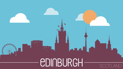 Edinburgh Scotland skyline silhouette flat design vector